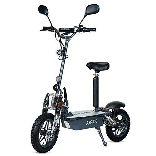 Aspide Metal – Patinete/Scooter eléctrico dos ruedas, con sillín, plegable, luz LED frontal, panel LCD, motor 2000W, velocidad hasta 40Km/h, autonomía hasta 25-30Km. Ideal para paseos urbanos.